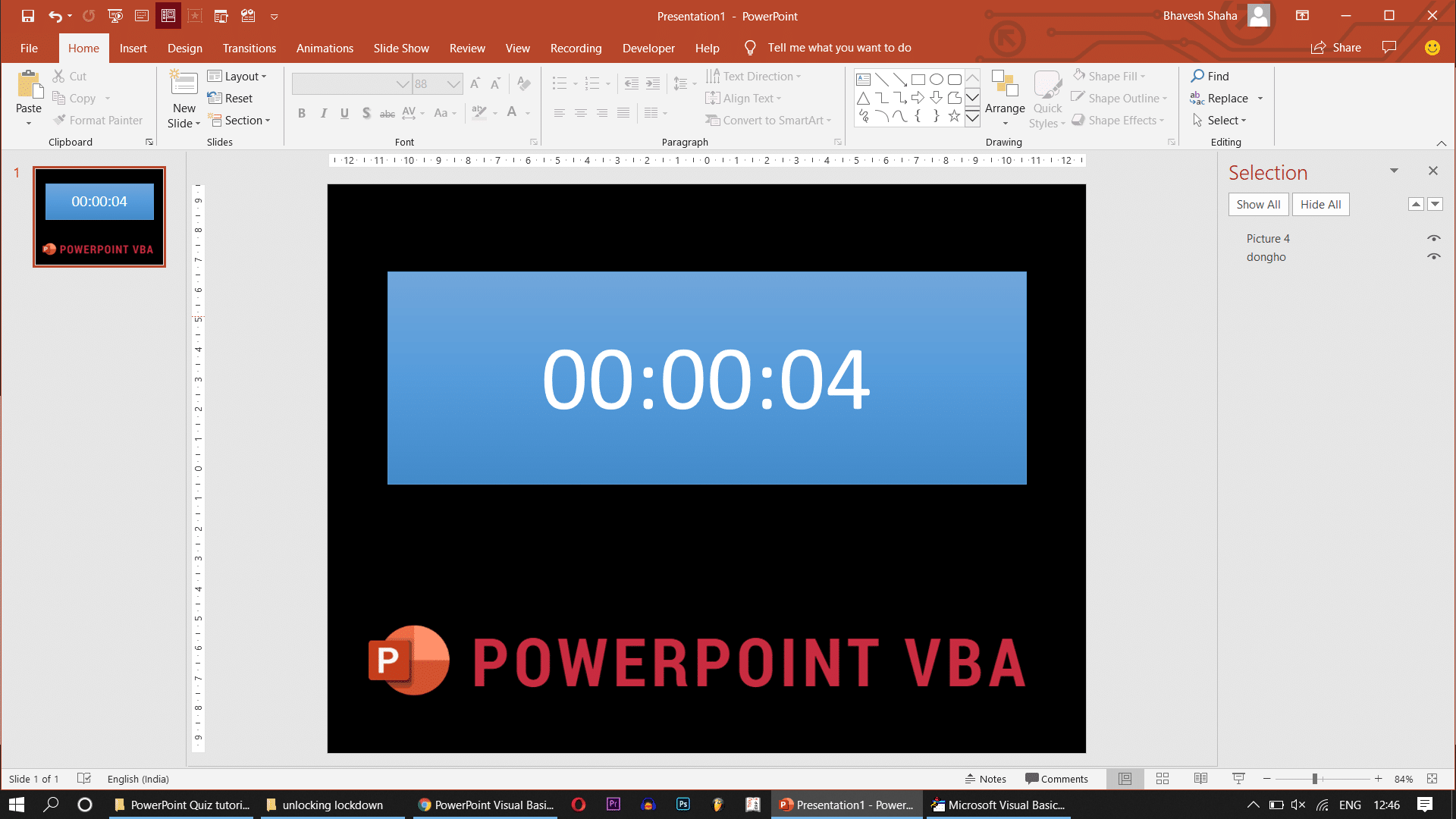 Countdown timer ppt vba