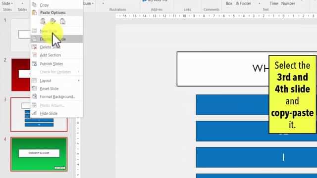 Duplicate PPT Question Slides - How to make a quiz game in PowerPoint