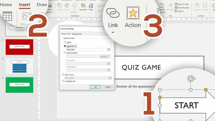 PPT Quiz Answer Button Start 1 - How to make a quiz game in PowerPoint