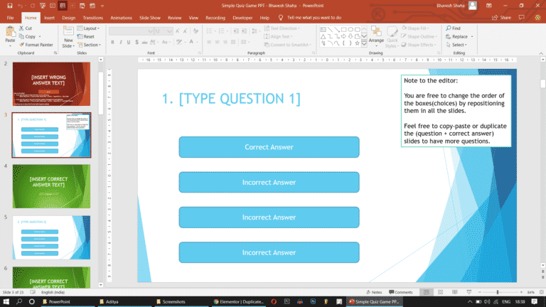 PowerPoint free quiz game template