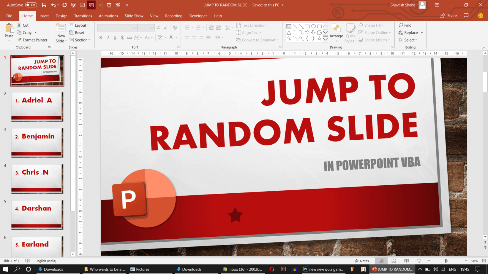 Screenshot 293 - How to jump to a RANDOM Slide in PowerPoint