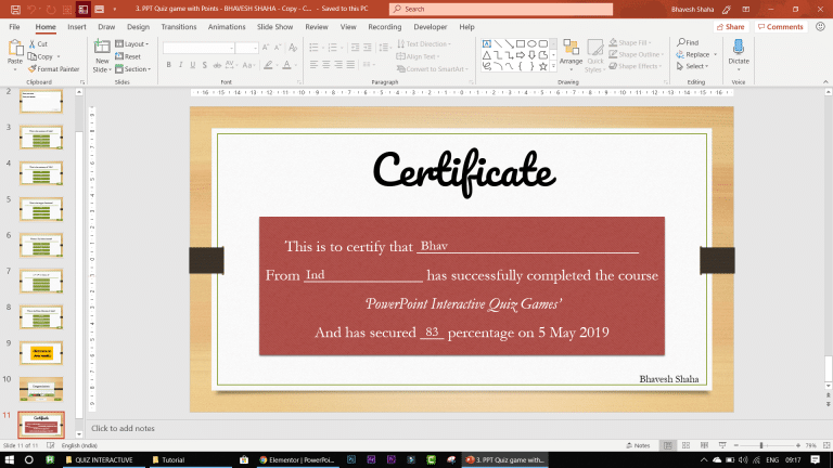 certificate in ppt quiz game