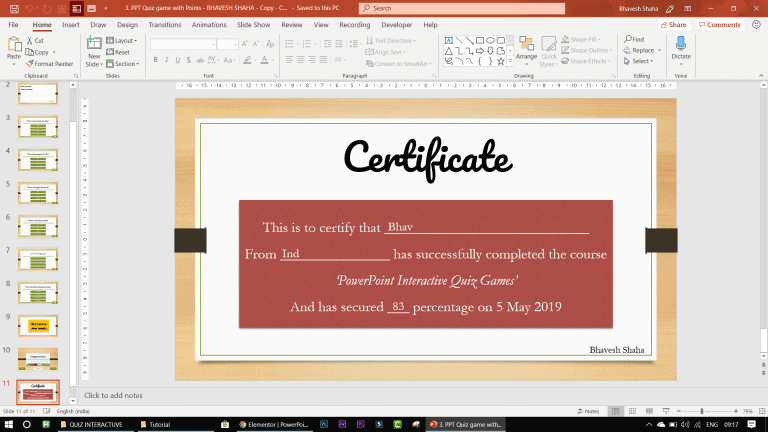 certificate in ppt quiz game - PowerPoint VBA Macro Modules