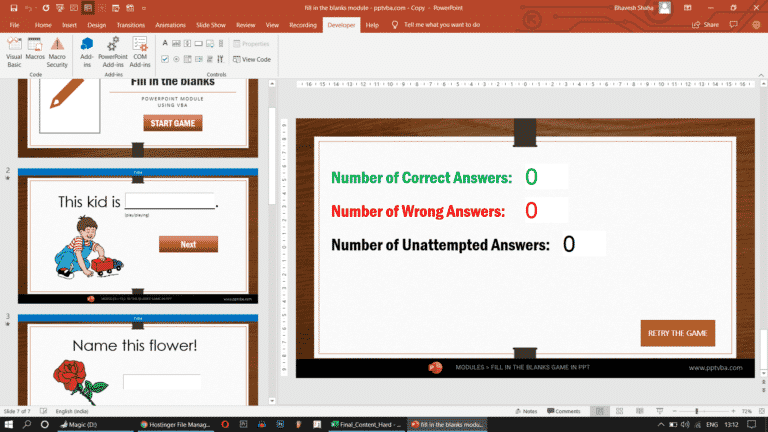 fill in the blanks score ppt