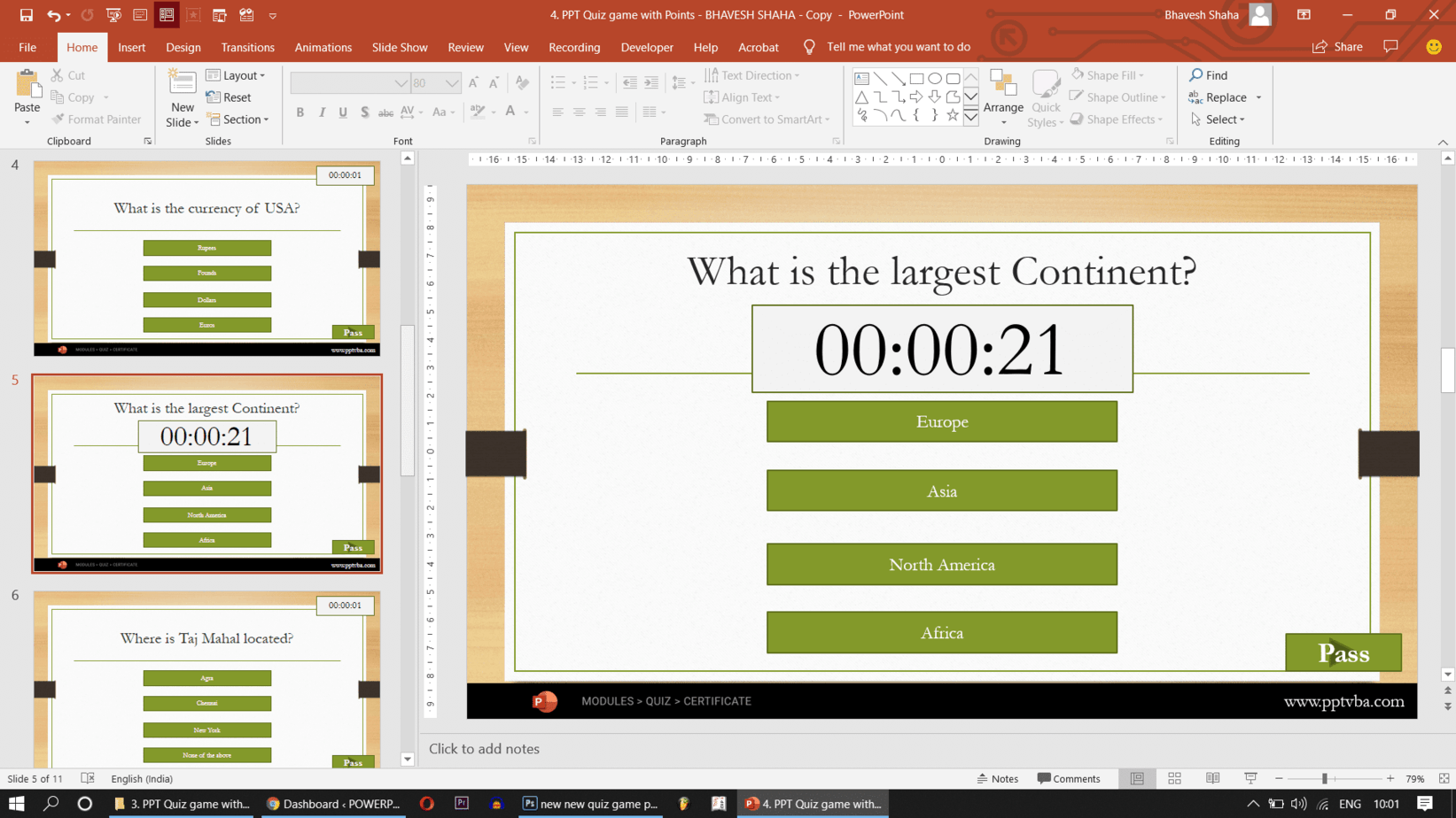 powerpoint quiz game with timer using vba  free template