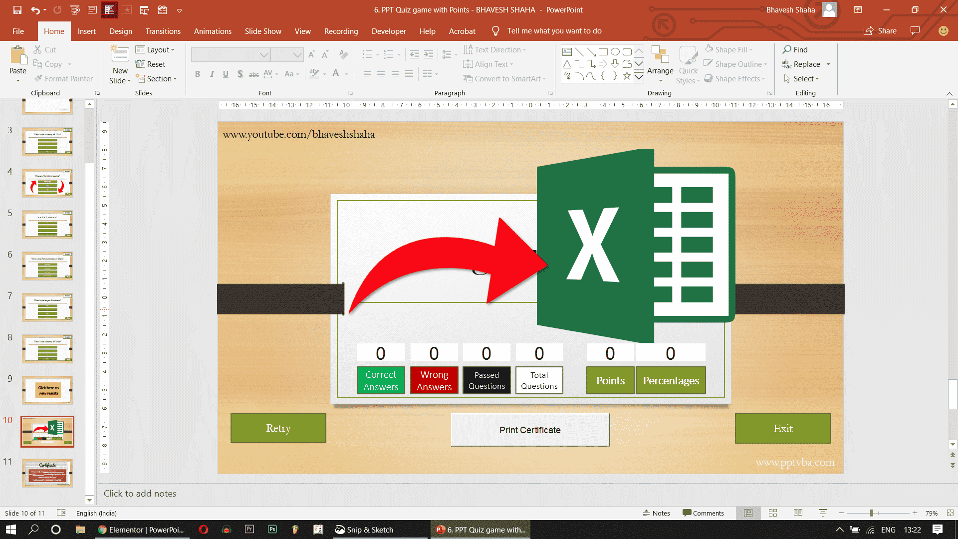 Screenshot 318 - SAVE POWERPOINT QUIZ RESULTS TO EXCEL SHEET