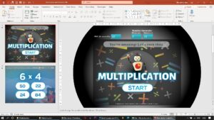 Multiplication FlashCards in PPT 2 - Download PowerPoint Game for Online Class - PPT Game Templates for Teachers