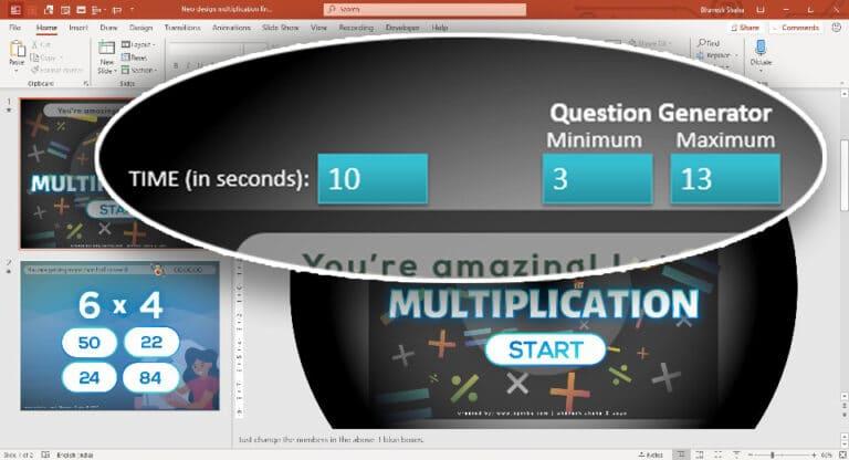 Multiplication FlashCards in PPT 4 - PowerPoint Multiplication Game - Random Flash Card Generator
