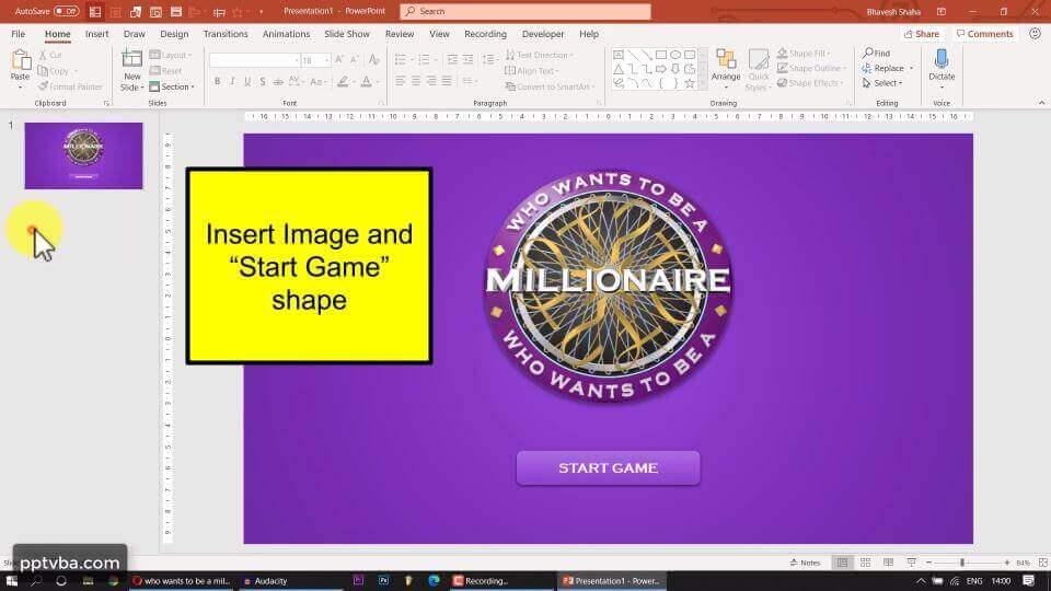 Create Quiz Game Title Slide